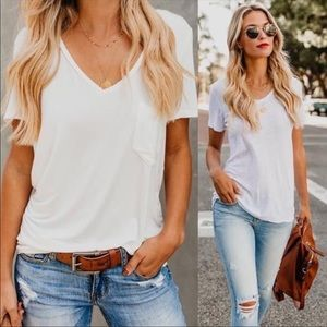 Tops - Basic v neck casual short sleeve shirt tops